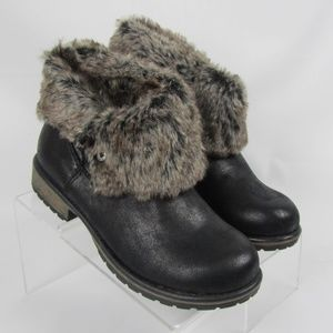 Candies Faux Fur Lined Brown Ankle Boots Size 8.5